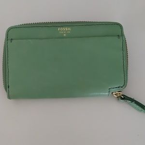 Fossil Dual Tone Green Leather Wallet